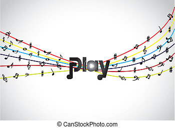 colorful unusual music play concept - Trendy Music play icon...