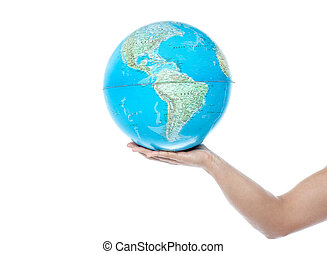 Closeup of man hand holding a globe
