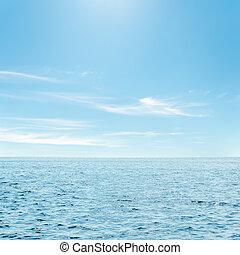 azul, mar, Nuvens, céu, sobre, aquilo