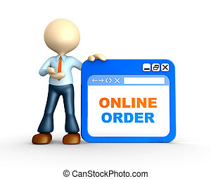 Online order - 3d people - man, person with browser window....