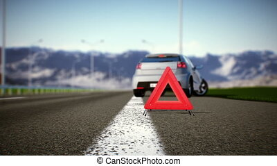 Solving problems - Car and warning triangle concept
