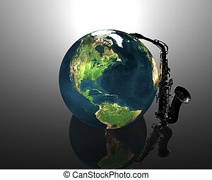 earth and saxaphone creative background