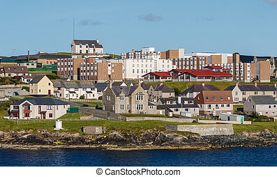 Lerwick town center under blue sky, Lerwick, Shetland,...