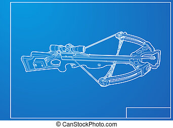 Outline crossbow on blue background