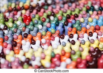coloridos, par, Abraço, boneca