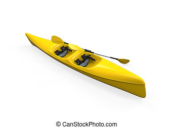 Yellow Canoe isolated on white background 3D render