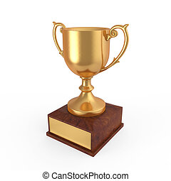 Gold Trophy isolated on white background. 3D render