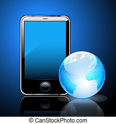 smart phone - Illustration of a smart phone and globe of the...