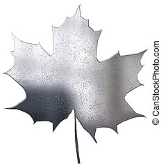 metallic maple leaf isolated on white