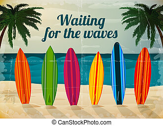 Holiday surfboards on the ocean beach card vector...