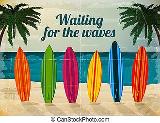 Holiday surfboards on the ocean beach card vector...