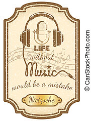 Retro live music poster with mic and headphones vector...