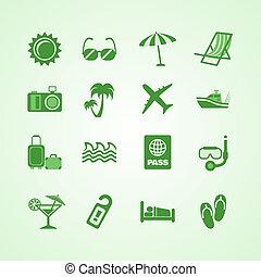 Vacation travel green icons set