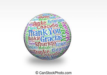 Thank You - Conceptual thank you word cloud written on 3d...