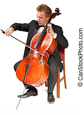 cello player - young caucasian cello player with white...