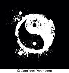 grungy yin yang - detailed illustration of a grungy yin yang...