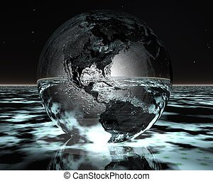 3D night globe on water in green color