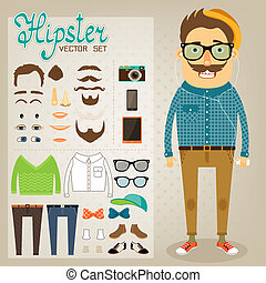 Hipster character pack for geek boy with accessory clothing...