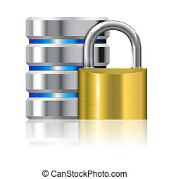 Padlock Protects Database - Security Concept - Padlock...