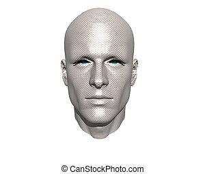 3D, 男性, 顔, 手ざわり