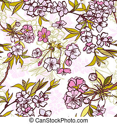 Seamless background pattern with blossoming sakura -...