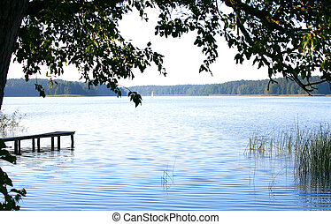 Lake in countryside - Scenic view of lake in countryside...