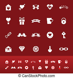 Love color icons on red background