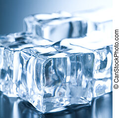 Ice cubes in blue ambient light. Good for background Ice...