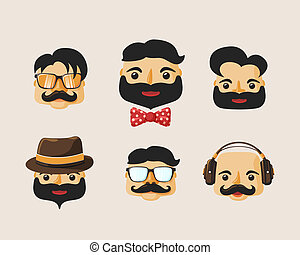 Hipster characters pack with facial emotions and retro hair...
