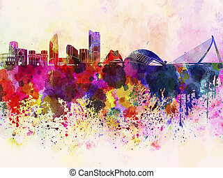 Valencia skyline in watercolor background
