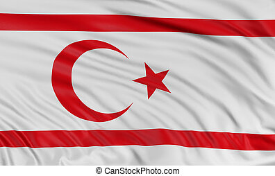 3D North Cyprus flag with fabric surface texture. White...