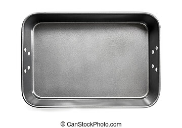 Empty Roasting Pan Top View Isolated