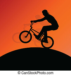 Extreme cyclists bicycle riders active children sport silhouettes for poster