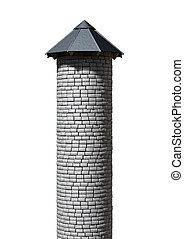 Tower Turret - A plain stone tower turret with a wood and...