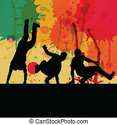 Boy dance silhouette vector color splash background concept