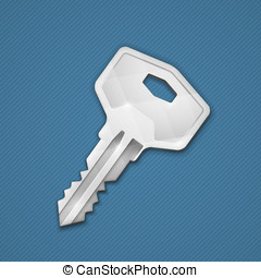 Steel key on blue background. Security concept. Vector...