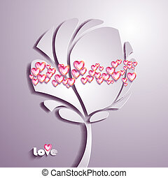 Paper tree with hearts