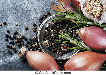 Shallots, Peppercorns, Garlic and Rosemary - Shallots, black...