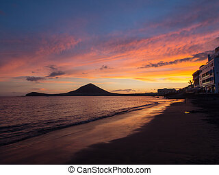 Beautiful sunset on the south of Tenerife, Canary Islands
