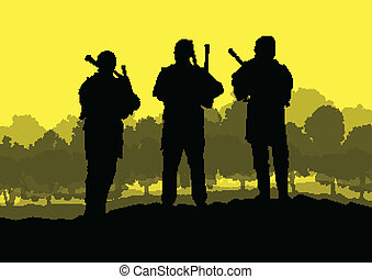 Scottish bagpiper silhouette landscape vector background...