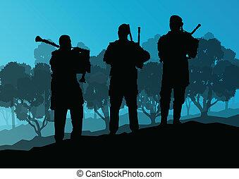 Scottish bagpiper silhouette landscape vector background...