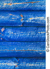The wall wooden planks painted blue - The wall of wooden...