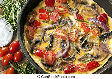 Omelet Cooking in Frypan Top View