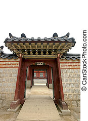 wooden gate in Korean palace