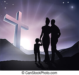 Easter Christian Cross Family - A Christian family with a...