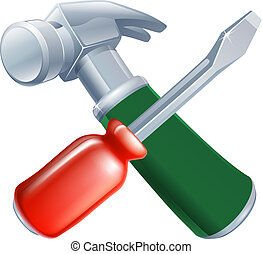 Crossed screwdriver and hammer tools icon of cartoon tools...
