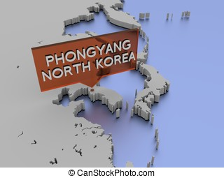 3d world map illustration - Phongyang, North Korea - 3d...