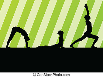 Yoga silhouettes vector background abstract template concept