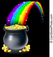 Pot of gold and rainbow - A cauldron or a pot full of gold...