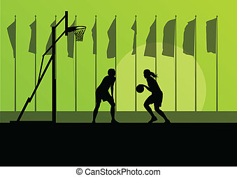 Woman basketball player landscape vector background concept...